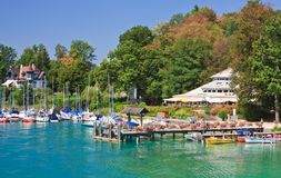 Resort Krumpendorf am Worthersee and Lake Worth . Austria Royalty Free Stock Photography