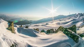 Resort Laax Panorama Swiss Winter Timelapse 4k. Panorama of LAAX, winter resort in Switzerland. Timelapse in 4k stock video footage