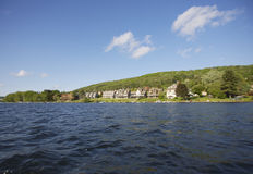 Resort Lake. Low shot from Lake at Luxury Lake Homes Stock Images