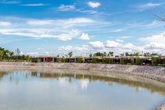 The Resort. Resort beside lake background blue sky and white cloud. Uthai thani, Thailand Royalty Free Stock Photos