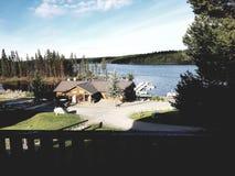 Resort. Lake side resort covered by morning sunshine Royalty Free Stock Images