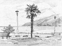 Resort landscape. Hand-drawn sketch Royalty Free Stock Photography
