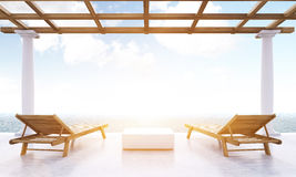 Resort lounge area with sunlight Stock Image