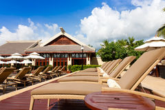 Resort lounge chairs Royalty Free Stock Photography