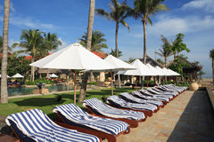 Resort lounge chairs umbrellas Royalty Free Stock Images