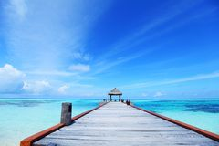 Resort maldivian houses in blue sea Stock Photo