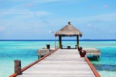 Resort maldivian houses Royalty Free Stock Photo