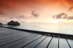 Maldivian houses on sunrise Royalty Free Stock Photos