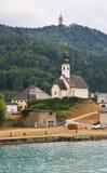 Resort Maria Worth. Winter church. Austria Stock Photos