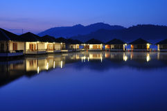 Resort between mountain and lake Royalty Free Stock Image