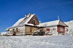 Resort in mountains. Resort and snow in Polish Mountains royalty free stock images
