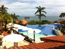 Resort overlooking ocean in Costa Rica Royalty Free Stock Photo