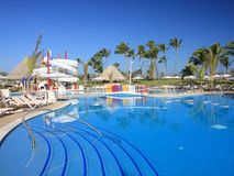 Resort with palms and pool Stock Photo