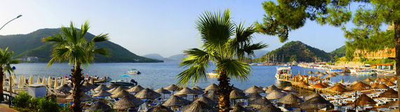 The resort. Panorama of tropical resort. Turkey, Marmaris, Aegean Sea royalty free stock images
