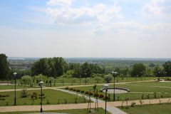 Beautiful landscape design in the Park. Resort Park, white ladder, in garden luxury expensive hotel stock photography