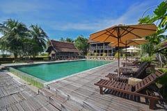Empty swimming pool of Popular Terrapuri Heritage Village due to Covid19 pandemic in Kampung Mangkuk, Setiu, Terengganu, Malaysia