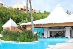 Resort pool. With outdoor bar Stock Images