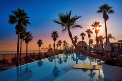 Resort pool in a beach with palm trees sunrise. Resort pool in the beach with palm trees at sunrise Stock Photos