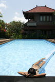 resort pool life bikini girl ubud bali Royalty Free Stock Image