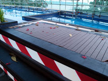 Resort pool under repair renovations Royalty Free Stock Image