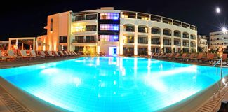 Resort pool and villas - Crete, Greece Stock Photo