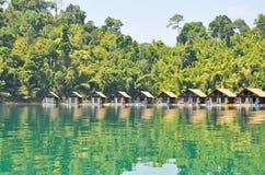 The resort at Ratchaprapha Dam Royalty Free Stock Photo