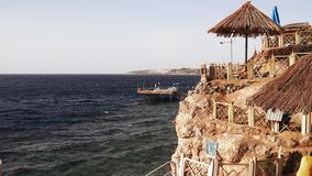 Resort Red Sea Coast. Daytime panoramic view of the Sharm El Sheikh beach and the Red Sea. Egypt stock video footage
