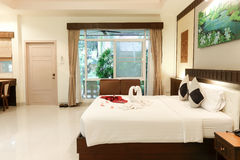 Resort room. Bedroom in the resort Natural atmosphere Royalty Free Stock Photography