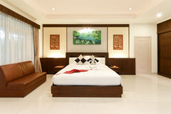 Resort room. Bedroom in the resort Natural atmosphere Stock Photography