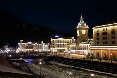 Resort Rosa Khutor at night in Krasnaya Polyana, Stock Image