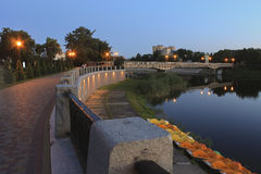 Resort's embankment of the Myrgorod in summer evening.  Stock Photography