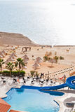 Resort sand beach on Dead Sea coast Stock Images