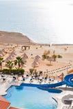 Resort sand beach on Dead Sea coast Stock Images