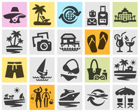 Resort set black icons. signs and symbols Royalty Free Stock Photography