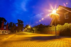 Resort settlement on the Curonian Spit in Lithuania. Night shot royalty free stock photos