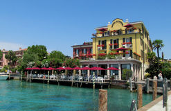 The resort of Sirmione Lake Garda bay Stock Photo