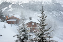 resort ski snow storm 库存图片