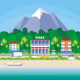 Resort small town. Street of the small resort seaside town. Houses in an environment of tropical plants. Vector background Stock Photos