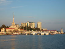 Resort Sochi, Russia,  the ships at the marina and the city. Resort Sochi on the Black Sea coast, the seaport, the ships at the marina, the city, high-rise Stock Photography