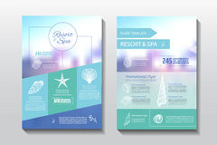 Resort and spa flyer. Spa wellness medical template. Vector brochure poster withe seashells. Vector illustration design Royalty Free Stock Images