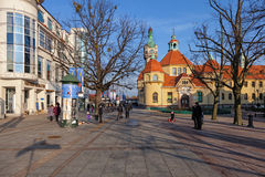 The Resort Square in Sopot, Poland. Street scene with tourists visitors Sopot. City is a major Health-Spa and tourist resort stock photo