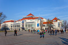 The Resort Square in Sopot, Poland. Street scene with tourists visitors Sopot. City is a major Health-Spa and tourist resort Stock Photos
