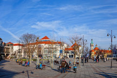 The Resort Square in Sopot, Poland. Street scene with tourists visitors Sopot. City is a major Health-Spa and tourist resort royalty free stock photography
