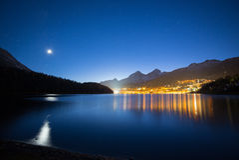 Resort of St. Moritz at Night stock images