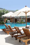 Resort swimming pool. Resort swimming pool in tropical Thailand - travel and tourism Stock Image