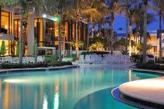 Resort Swimming Pool. A resort swimming pool at twilight Stock Photo