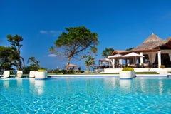 Resort with swimming pool. Swimming pool in caribbean resort Royalty Free Stock Image