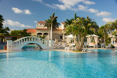 Resort swimming pool. Beautiful tropical resort swimming pool area Stock Photography