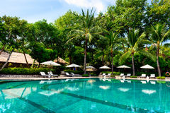 Resort swimming pool at bali Royalty Free Stock Photos