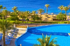 Resort Swimming Pool On The Se Royalty Free Stock Photography